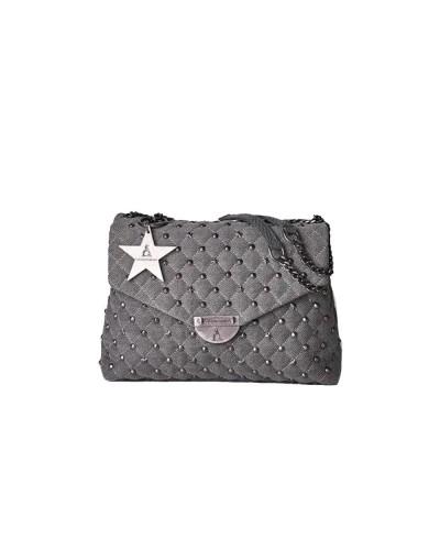 Borsa A Spalla L atelier du sac donna Rebel con borchie e stelle in demin scuro con  pashmina in omaggio