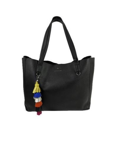 Borsa Shopping  L atelier du sac donna You and I nera con tracolla e pashmina in omaggio