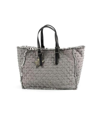 Borsa Shopping L atelier du sac donna Rebel con borchie e stelle in demin scuro con  pashmina in omaggio