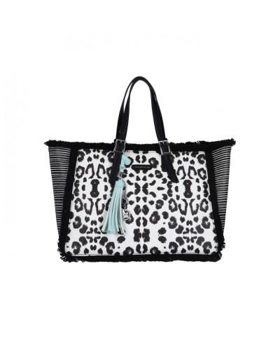 Borsa Shopping L atelier du sac donna Spotted animalier bianca e nera con pashmina in omaggio
