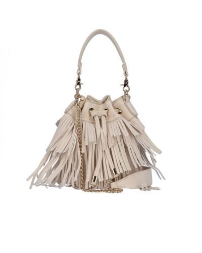 Borsa Secchiello L atelier du sac donna Gipsy beige con frange con tracolla