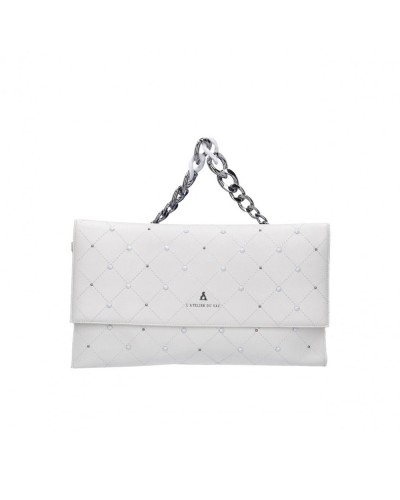 Pochette  L atelier du sac donna Plastic doll bianca con borchie con tracolla