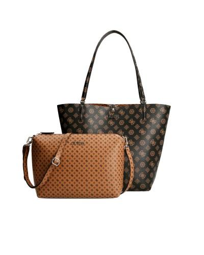 Borsa Shopping Guess con pouchette staccabile in ecopelle logato marrone