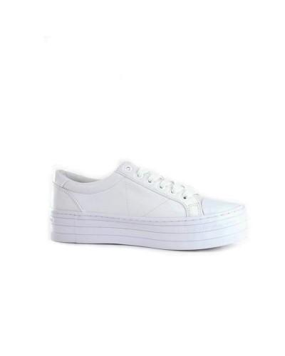 Scarpa Sneakers Guess donna bianca con strass al tallone  inserti argento triangolo loto laterale verde acqua