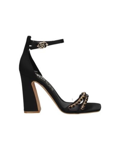 Sandalo Gattinoni Roma donna satinato con tacco alto e largo con pietre nere e dorate
