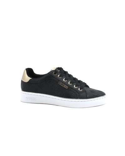 Sneakers Guess Donna logata  in similpelle nera con inserti laminati e logo laterale