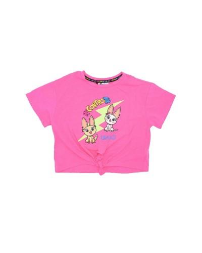 T-shirt Liu-Jo Bambina Me contro Te con stampa di gatti e fiocco alla vita