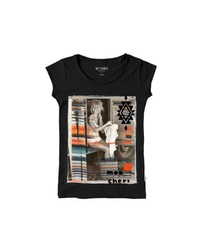 T-Shirt Ko Samui Cheri Stitch Silk Nero
